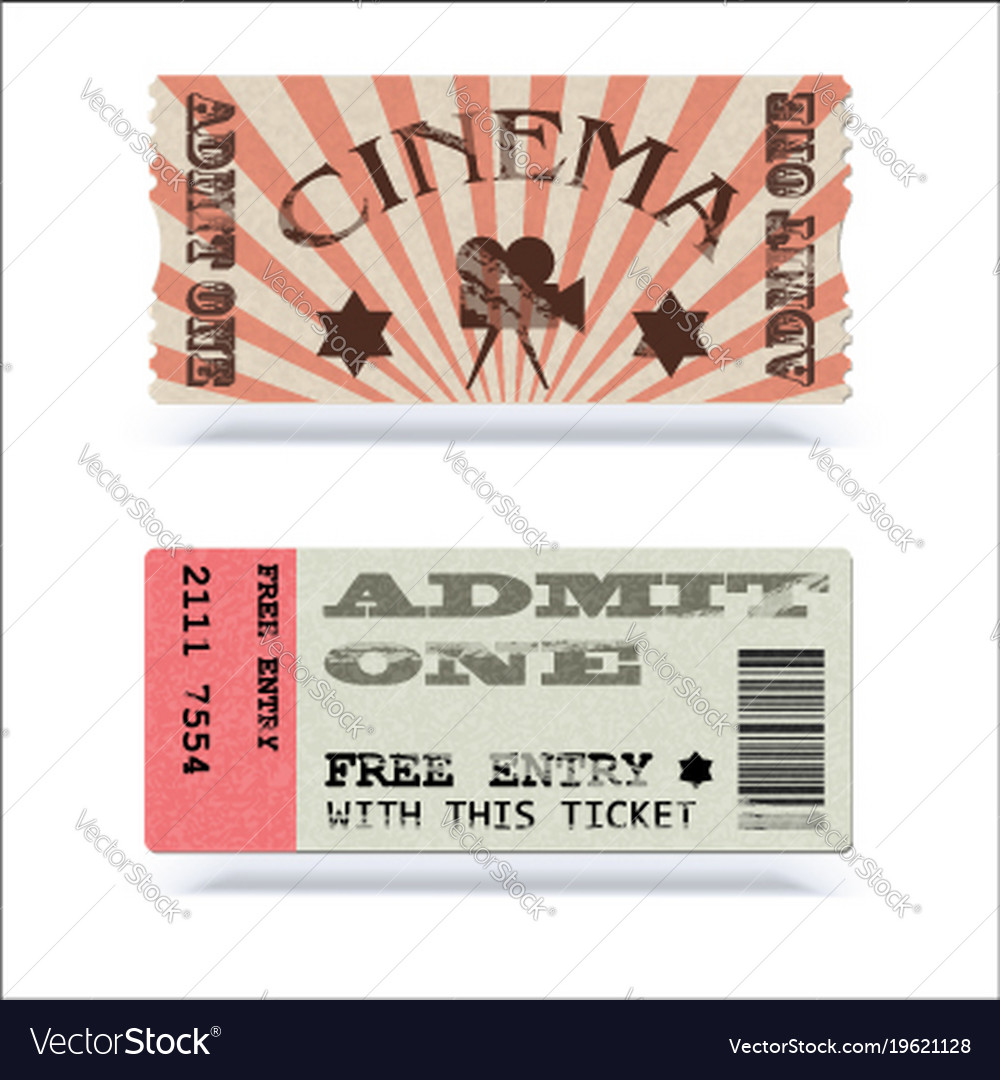 Retro cinema tickets or event shape with texture