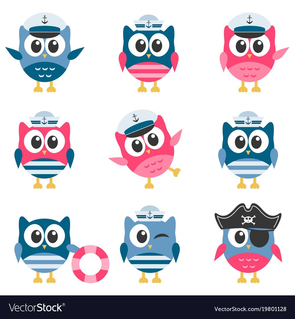 Set of funny owls sailors