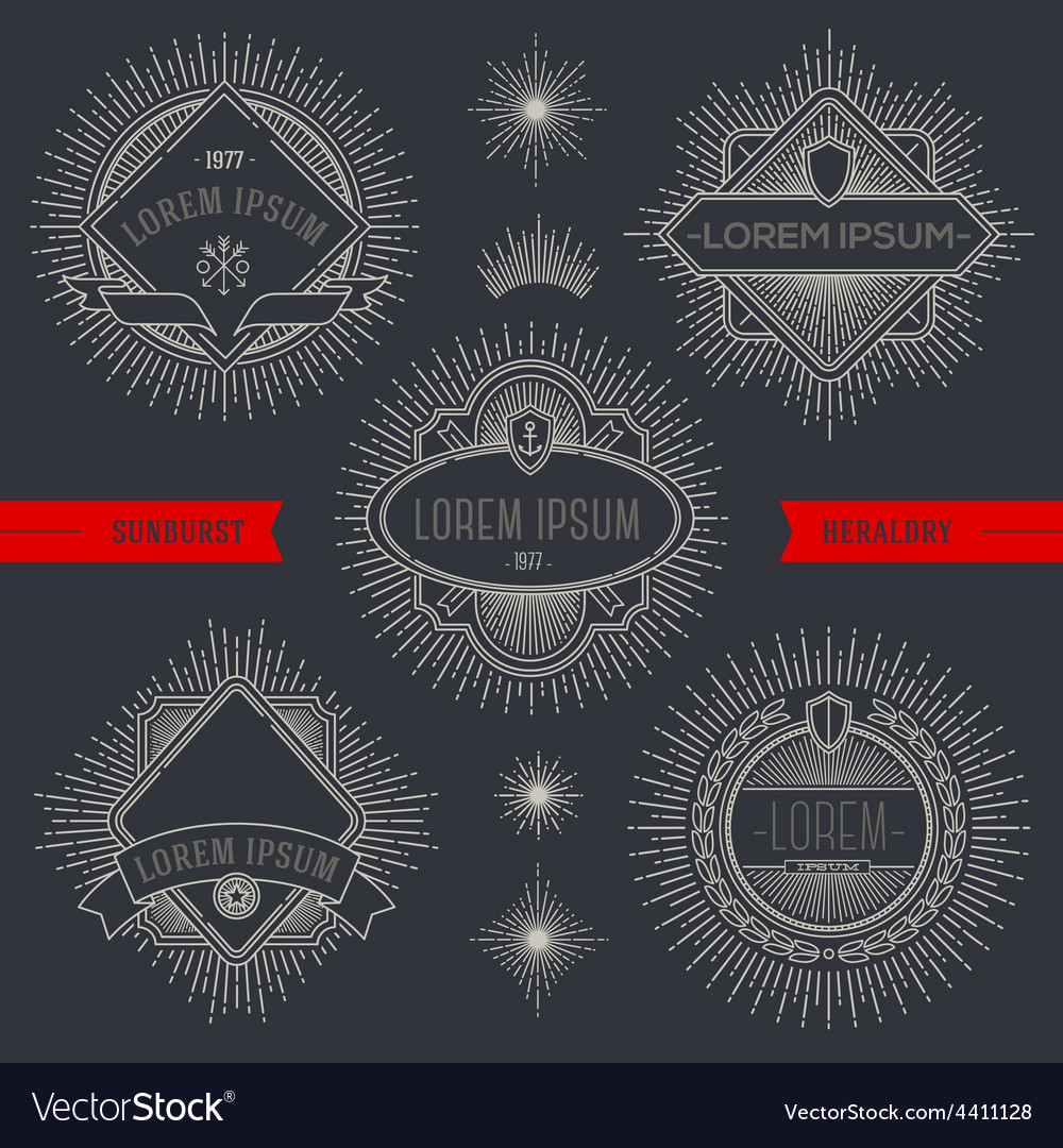 Set of line heraldic emblems and labels with vector image