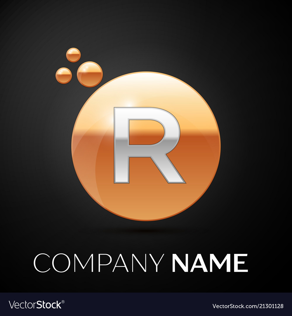 Silver letter r logo gold dots splash and bubble