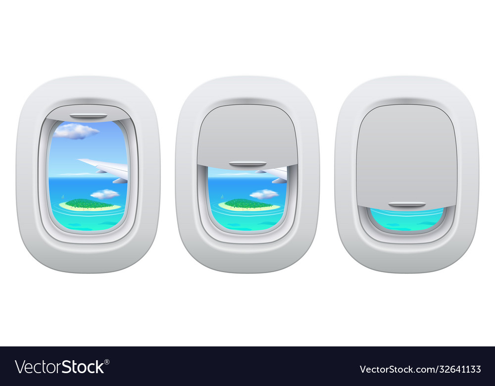 Airplane porthole view plane open and closed