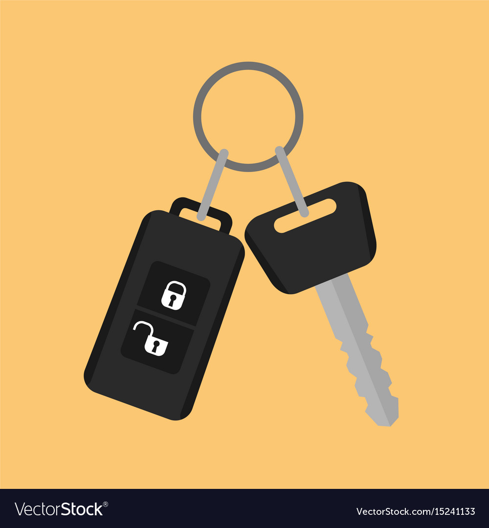 Car key with remote control icon in flat style on
