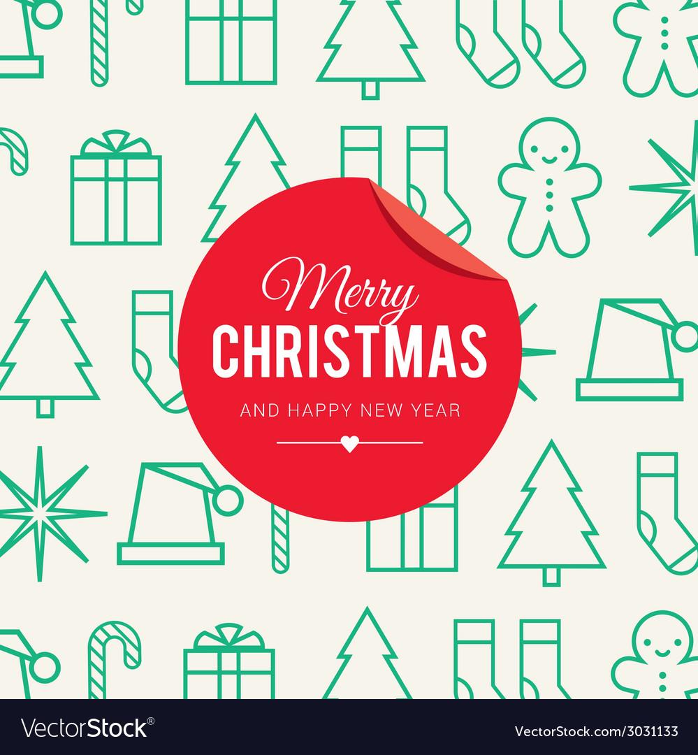 Christmas card icons vector image