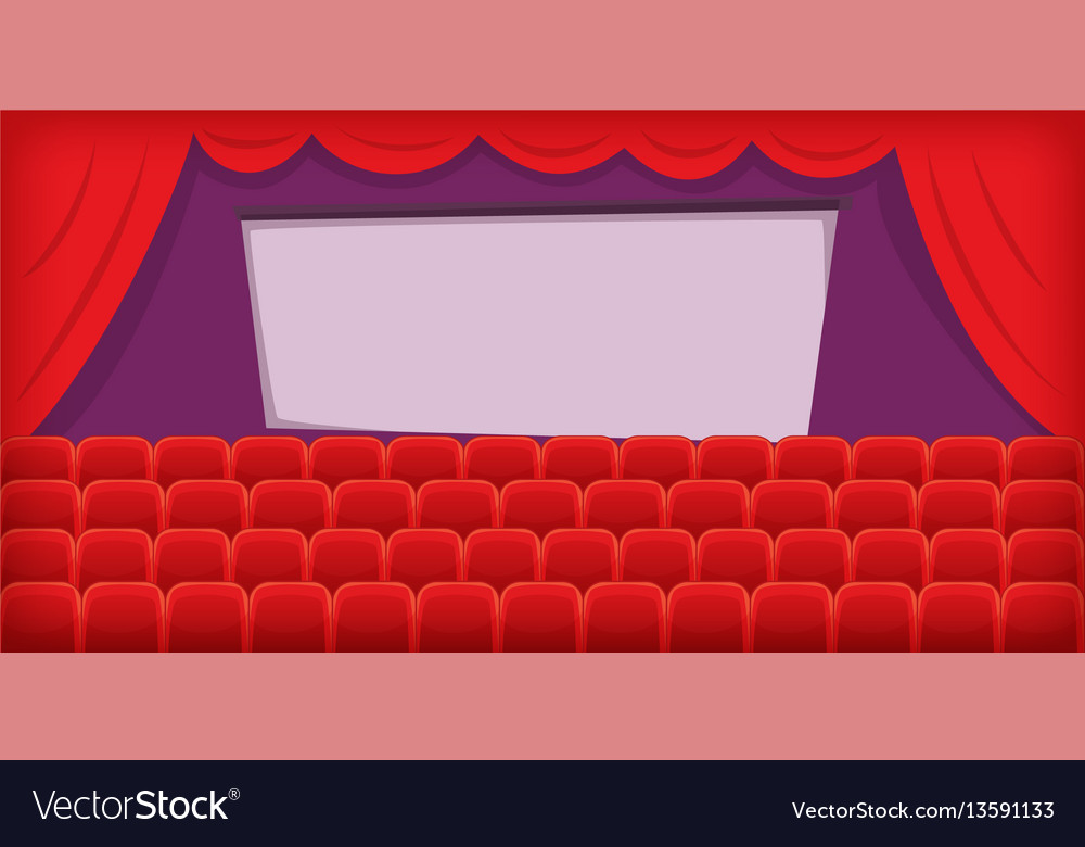 Cinema movie horizontal banner hall cartoon style