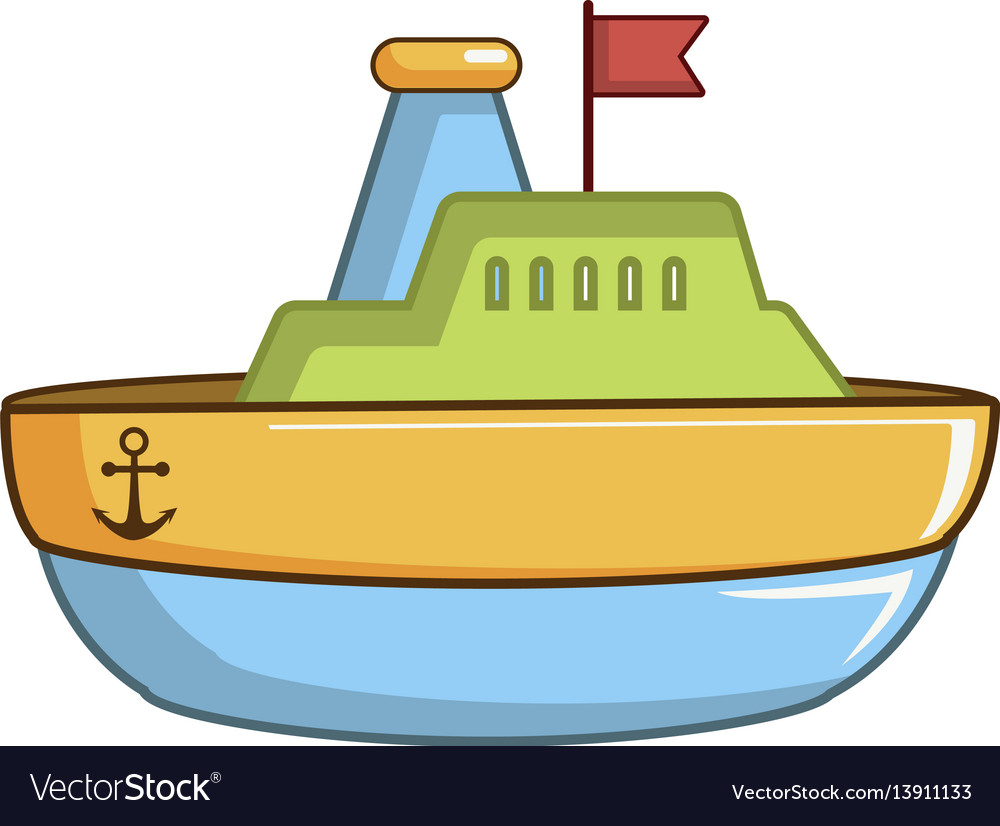 Colorful toy ship icon cartoon style