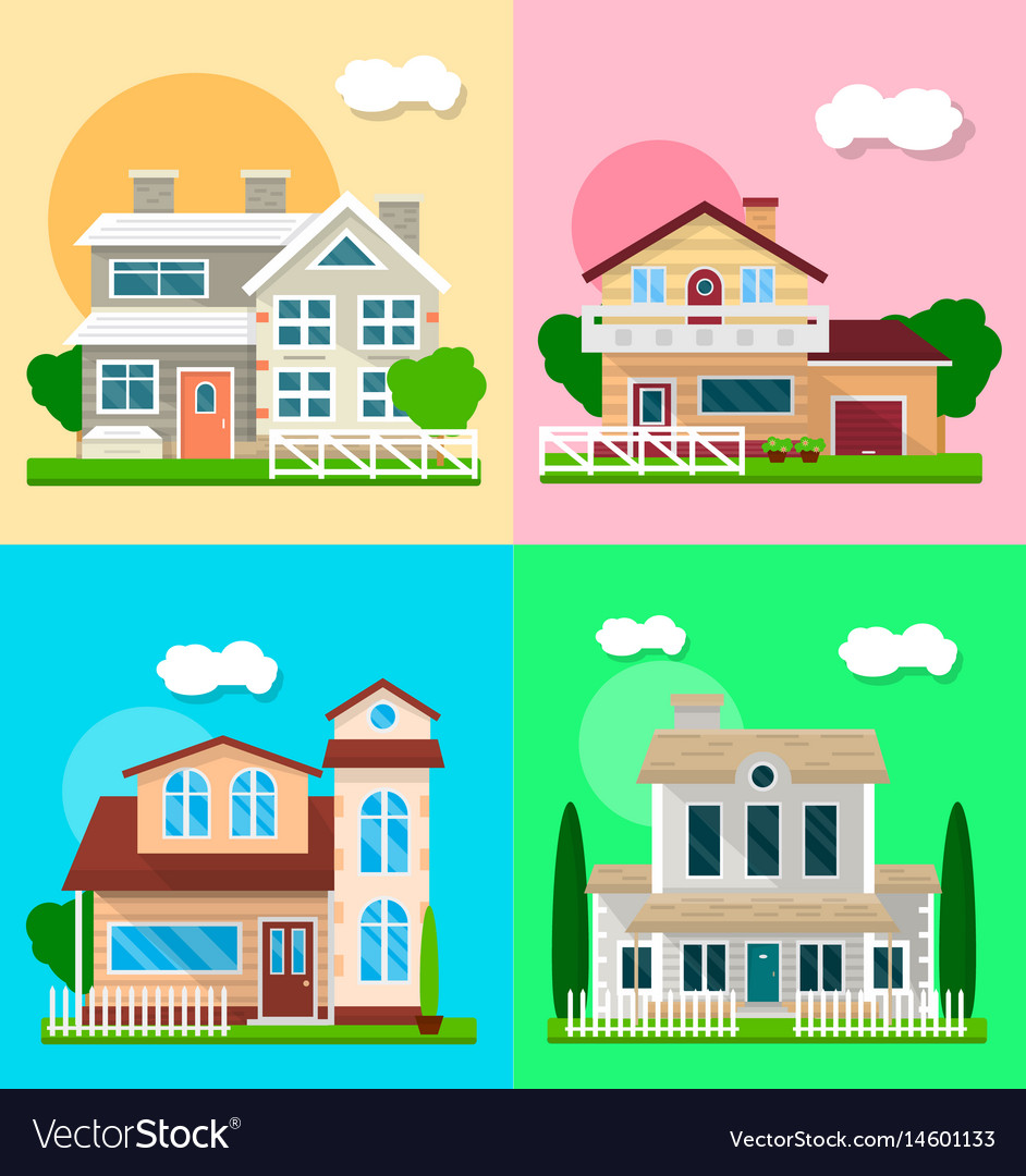 Detailed graphic houses colorful set of