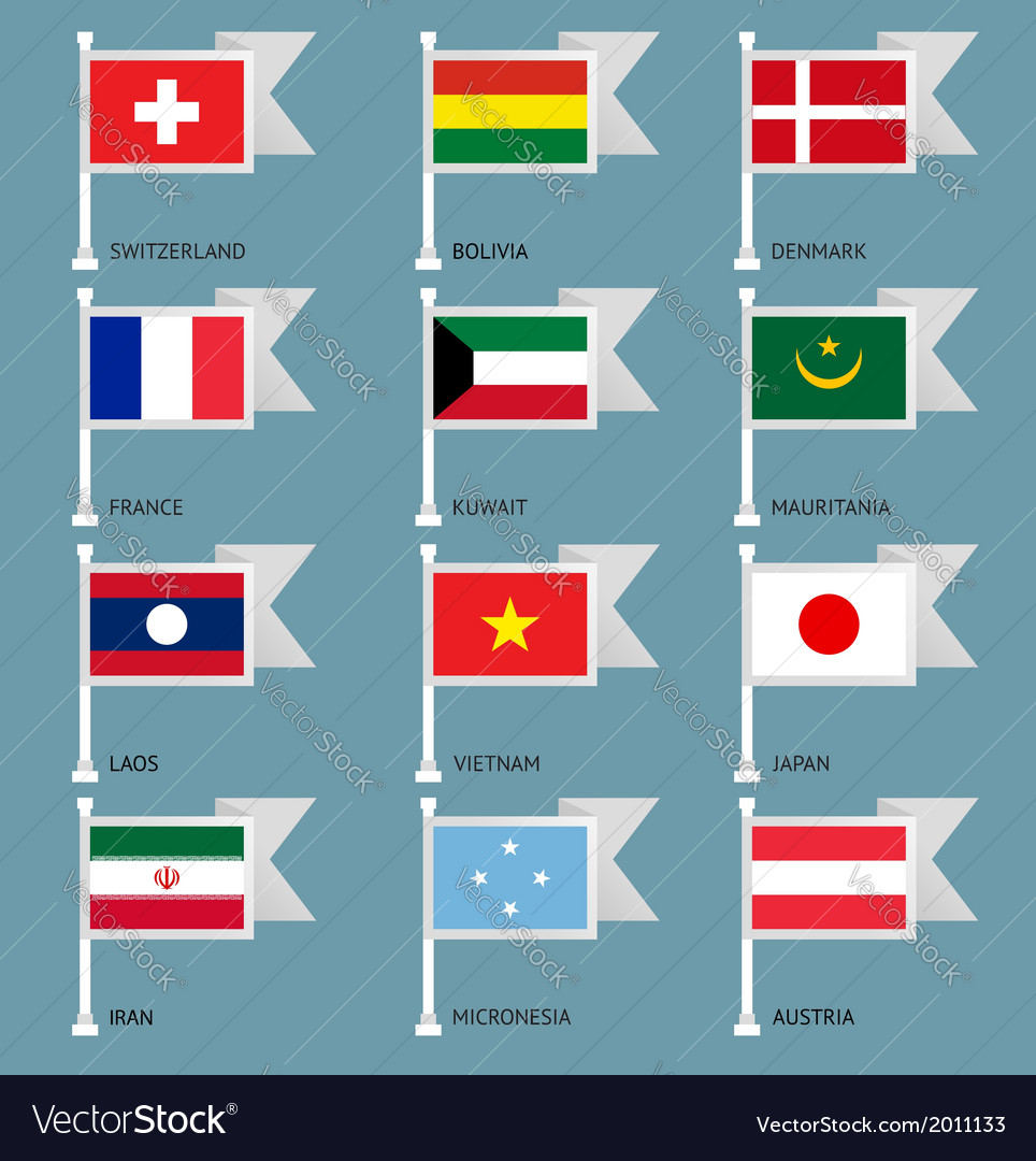 Flags set four-05 vector image
