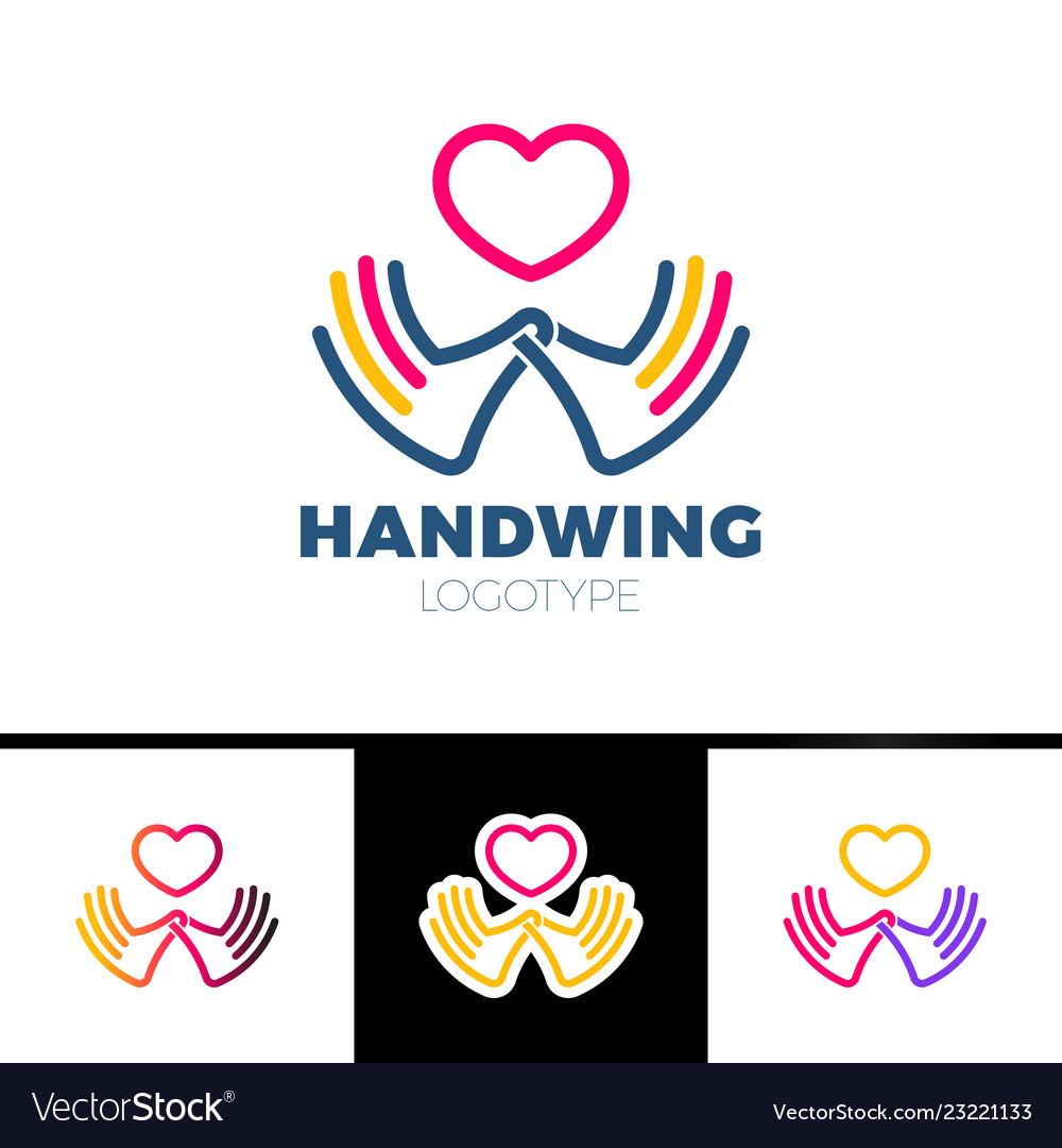 Heart in hand symbol sign icon logo template