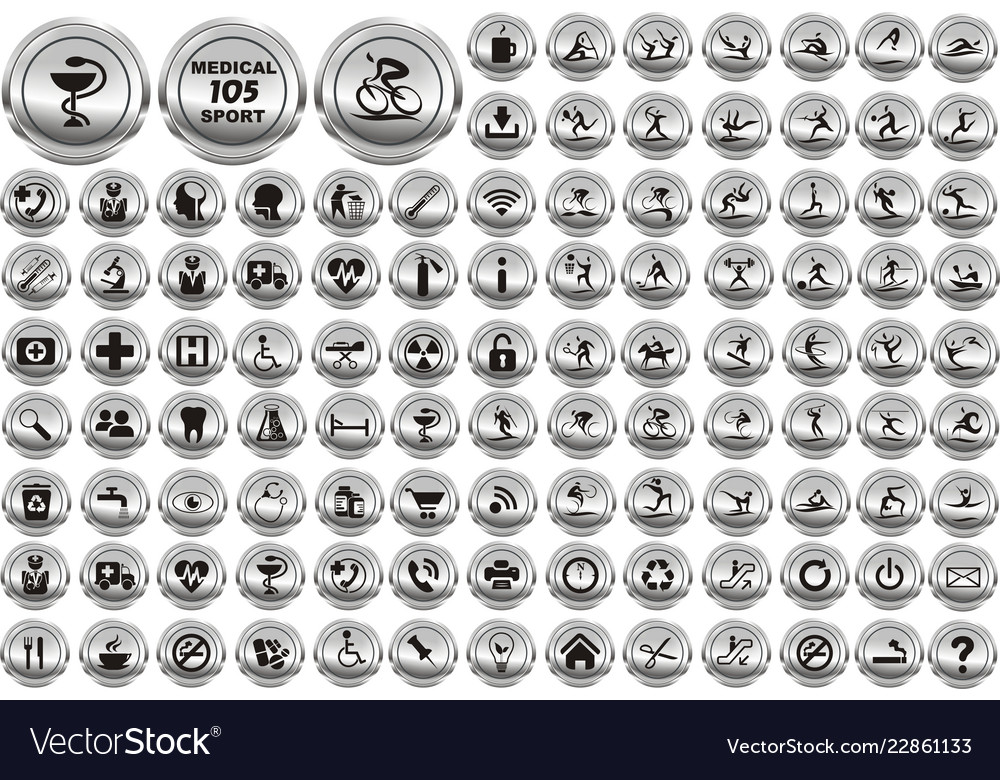Multimedia sport and medical circle icons set