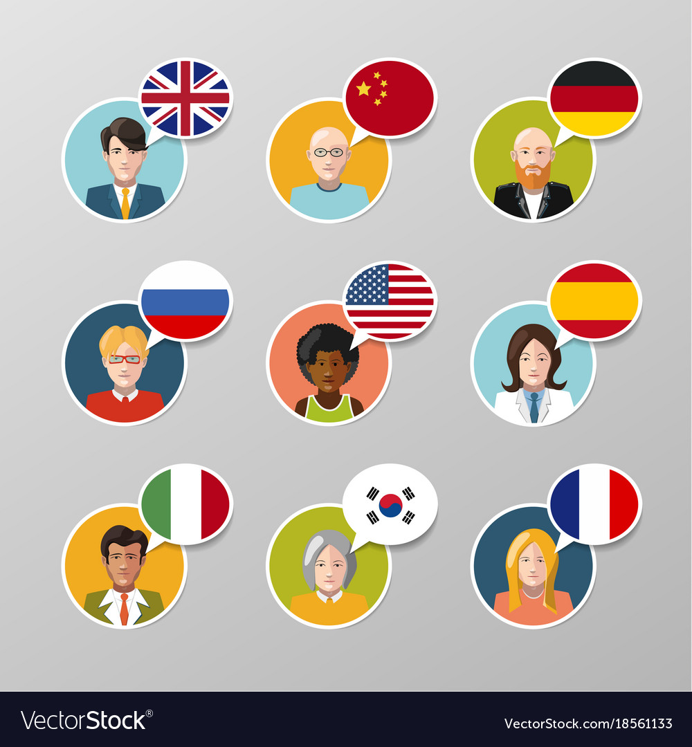 Nine colorful user avatars with different language