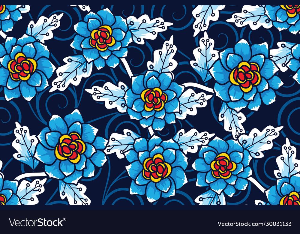 Seamless pattern with floral tropical batik motif
