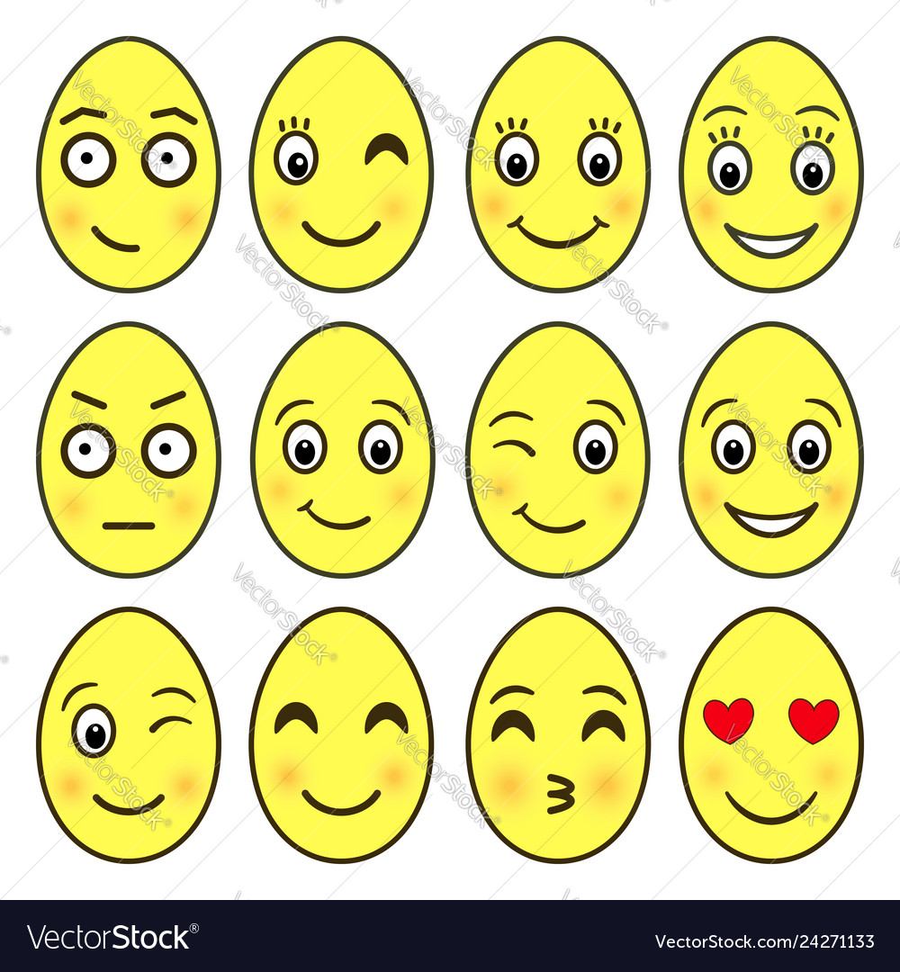 f0c2375db440 Set of emoji in the shape of easter eggs ep Vector Image