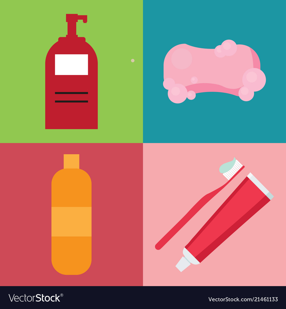Set of hygiene items in flat style