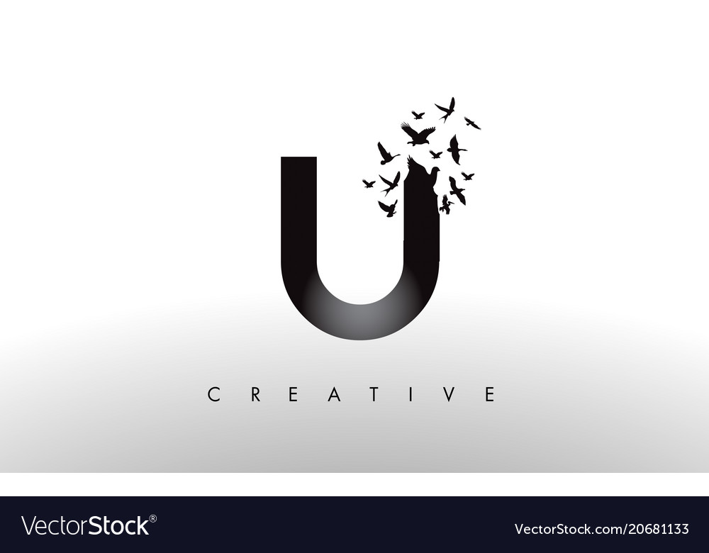 U logo letter with flock of birds flying and