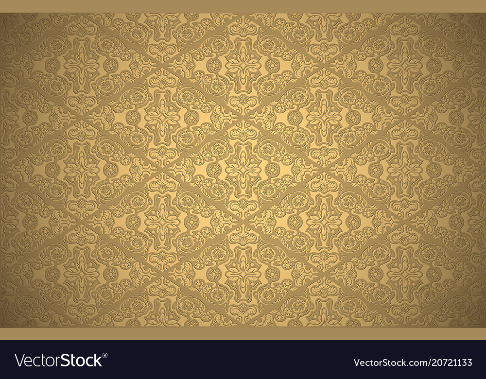 Wallpaper with damask pattern in gold colors