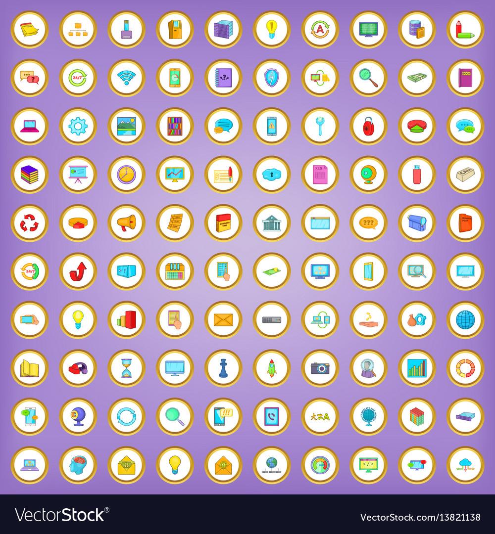 100 database icons set in cartoon style