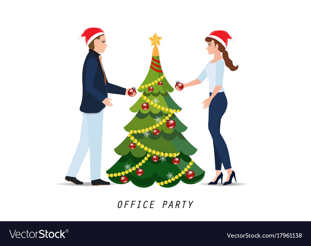 Business people with red santa claus hats