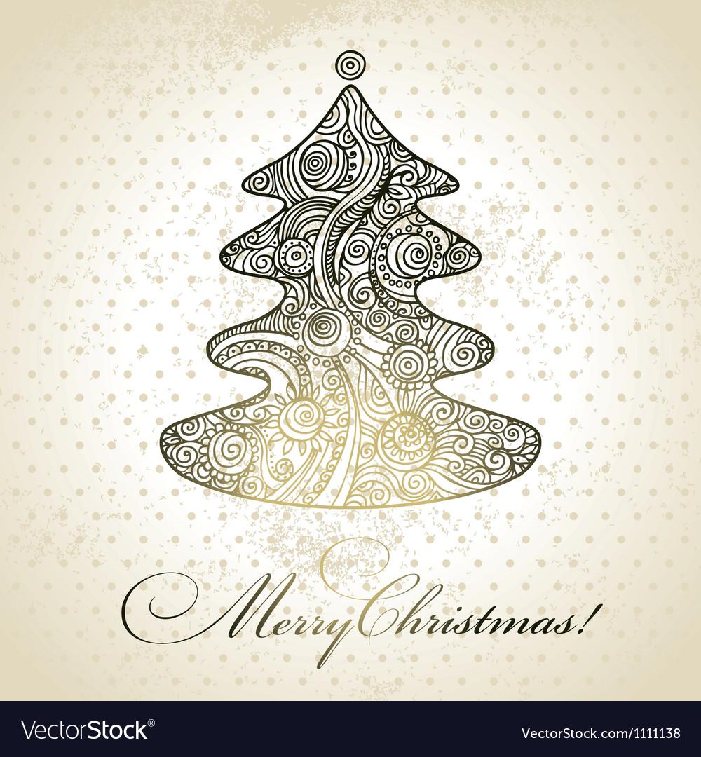 Christmas tree hand drawn design