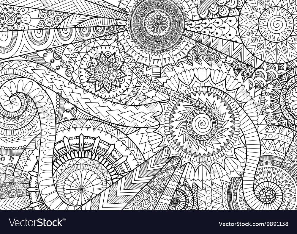 Complex mandala movement design for adult coloring
