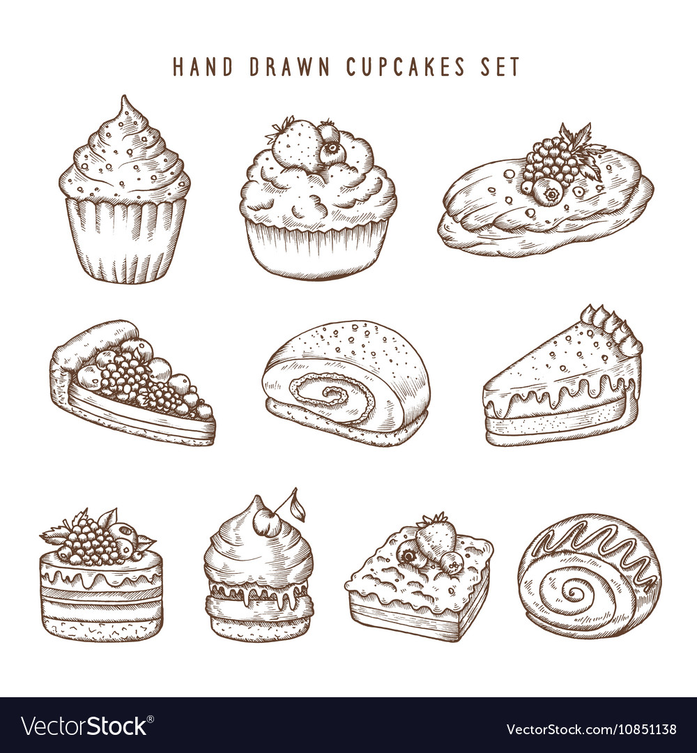 Hand drawn set of cupcakes and bakery products