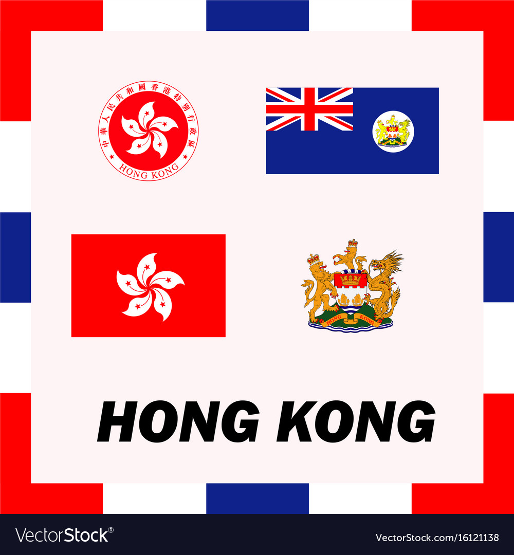 Official ensigns flag and coat of arm of hong kong