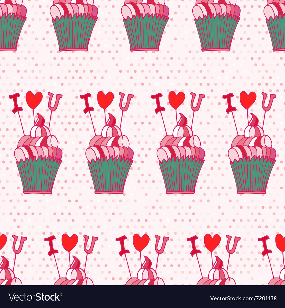 Seamless pattern made of hand drawn cupcakes