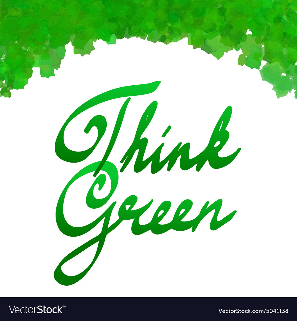 Think green with watercolor leaves frame