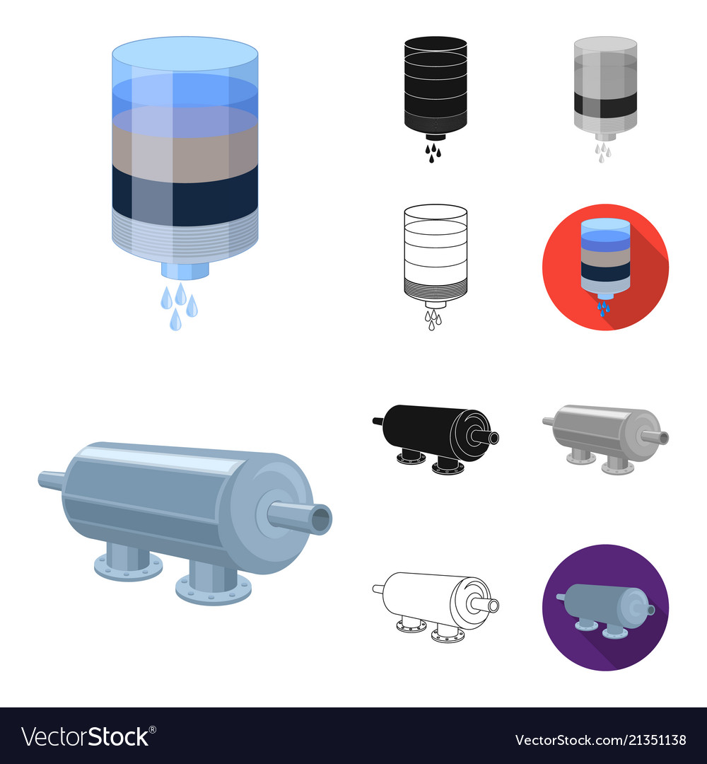 Water Filtration System Cartoonblackflat Vector Image Diagram