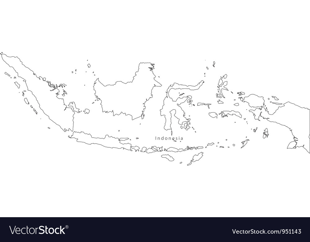 Black White Indonesia Outline Map vector image
