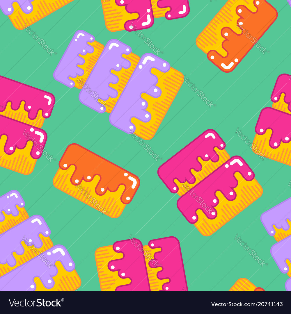 Cake seamless pattern dessert for birthday and vector image