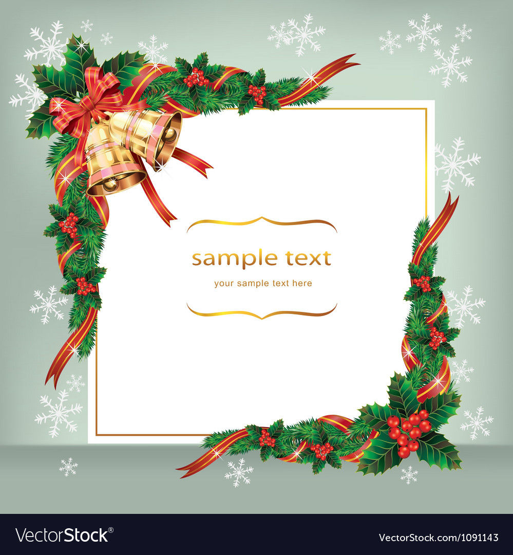 Christmas Card With Bells And Berry Royalty Free Vector