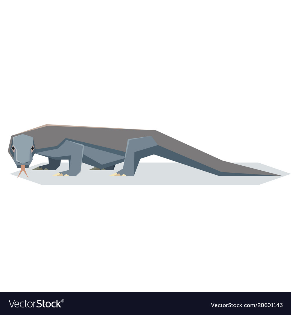 Flat geometric komodo dragon vector image