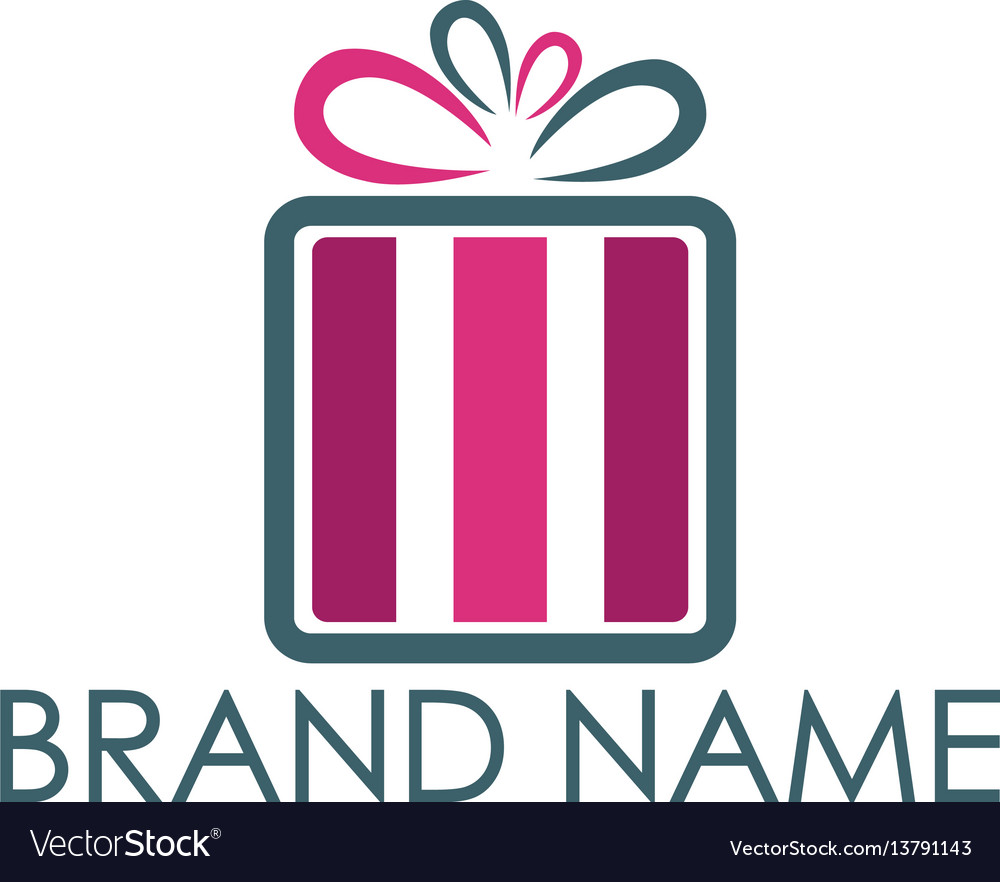Gift Box Logo Design Royalty Free Vector Image