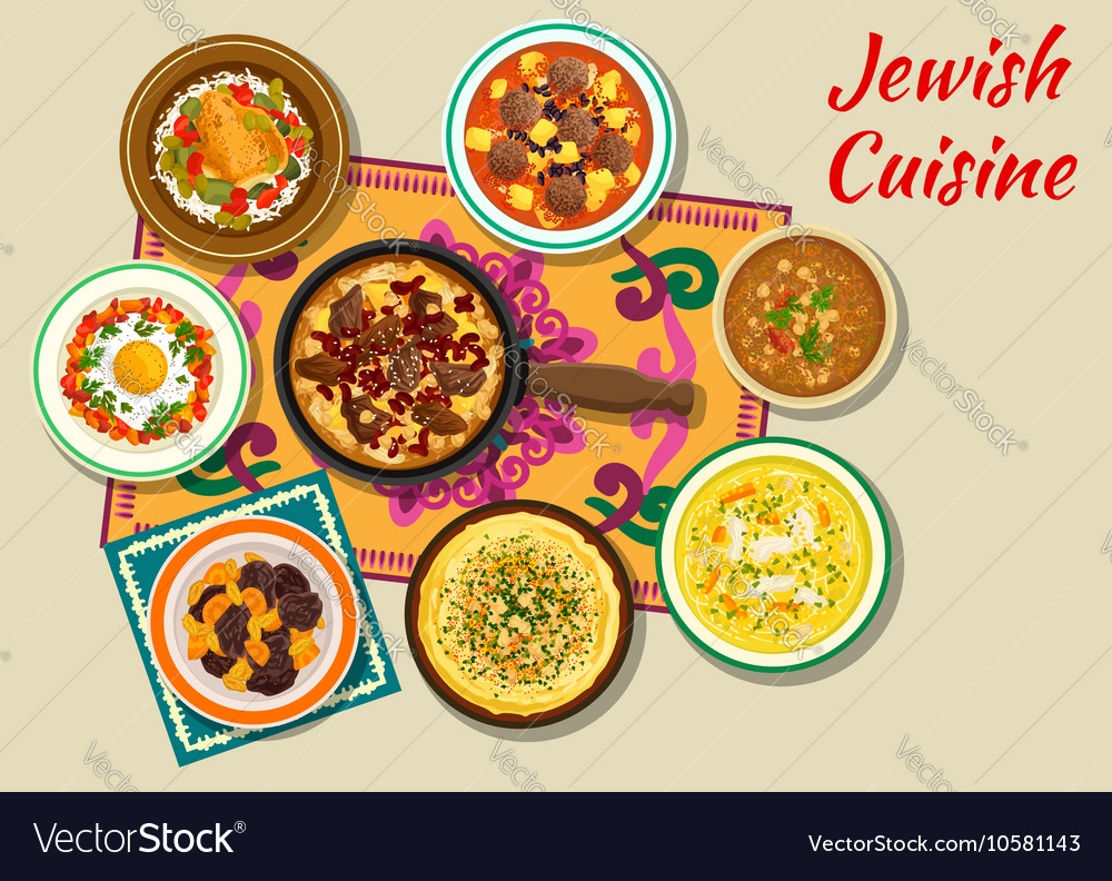Jewish cuisine kosher dishes for dinner icon vector image forumfinder Image collections