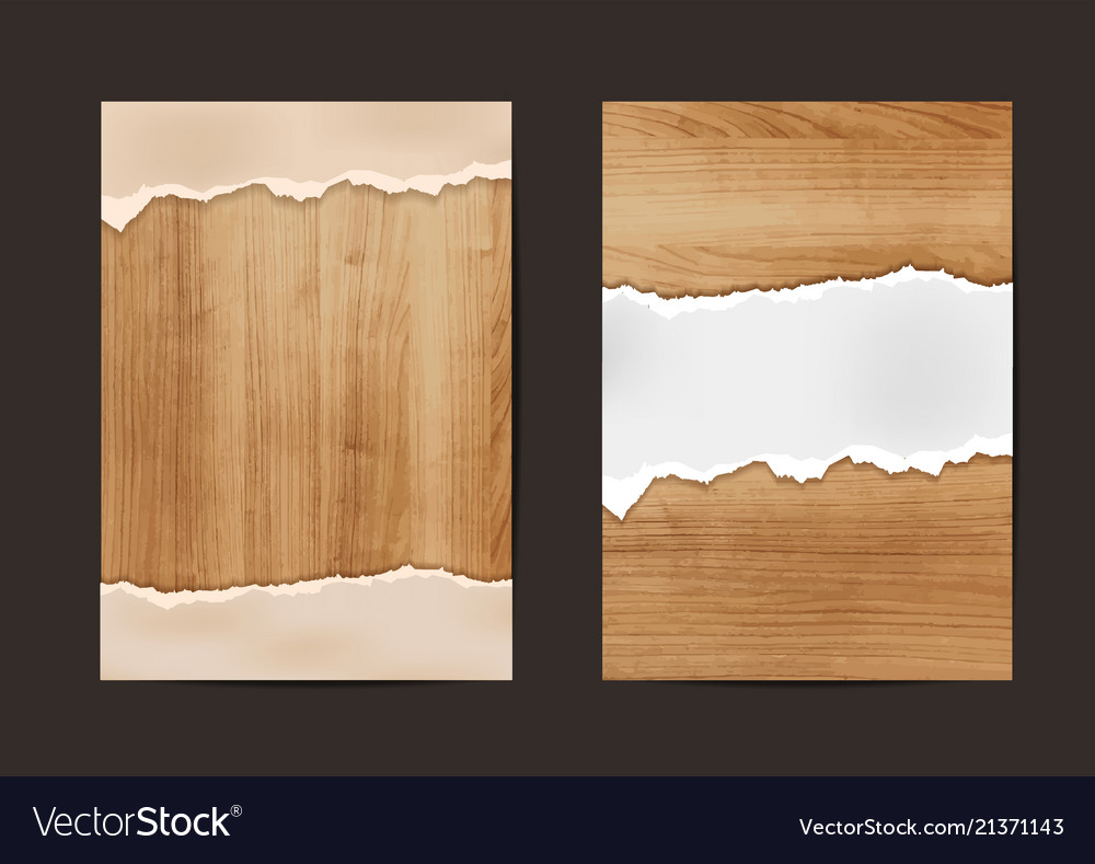 Ripped paper on texture of wood background