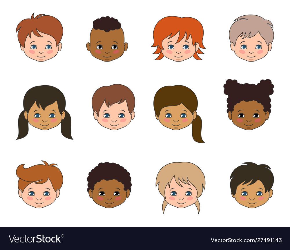 Set children faces different races