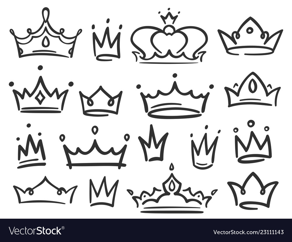 Sketch Crown Simple Graffiti Crowning Elegant Vector Image Large png 2400px small png 300px. vectorstock