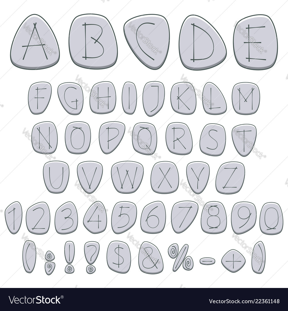 Alphabet numbers and signs on pebbles runes