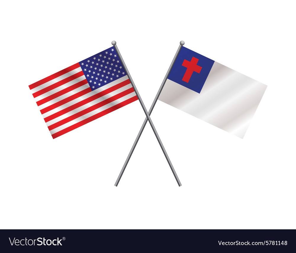 American and Christian Flag vector image