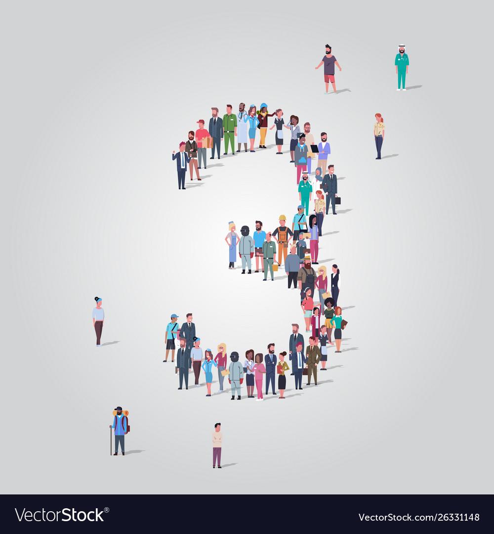 Big people crowd forming number three 3 shape