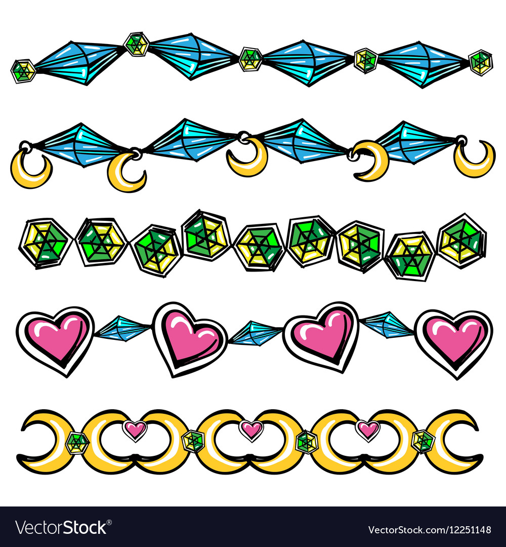 borders with moon hearts and diamonds royalty free vector
