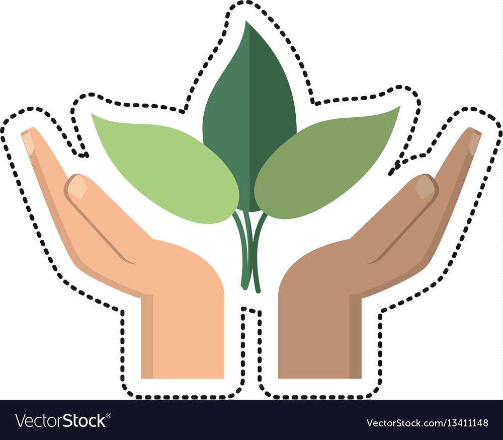 Cartoon hand plant environment icon vector image