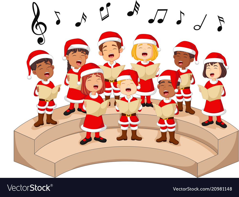 Choir girls and boys singing a song