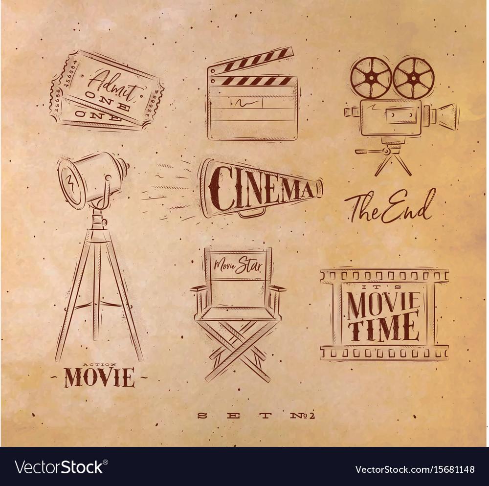 Cinema symbols craft vector image