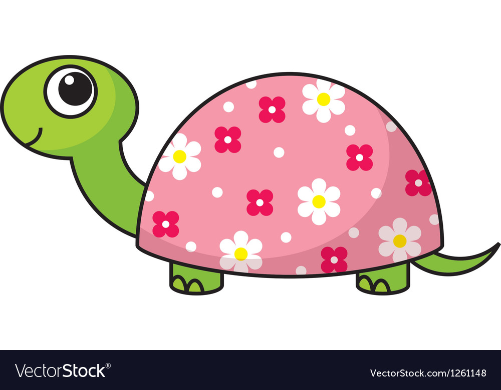 Cute cartoon turtle vector image