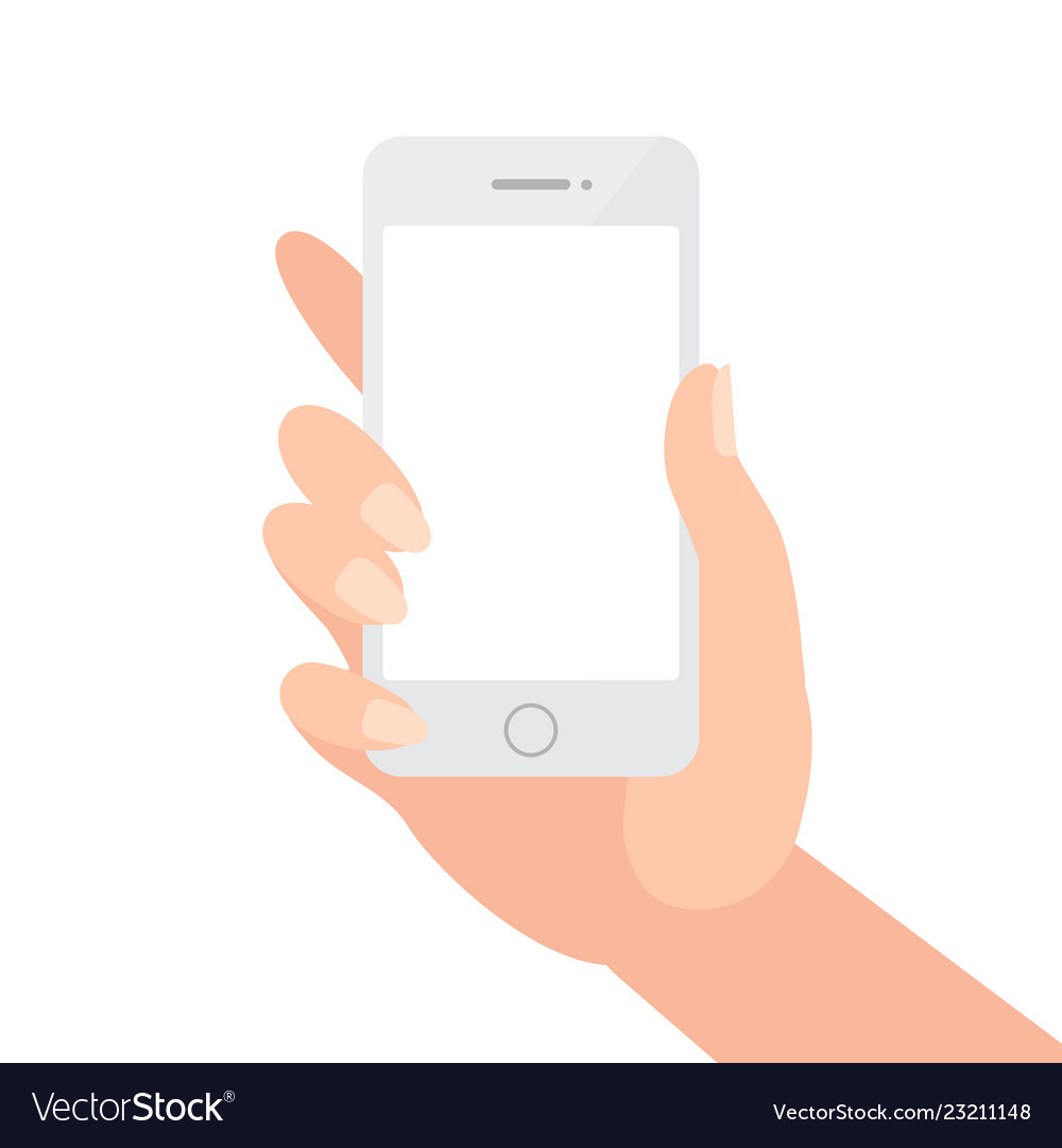 Female hand holding phone with blank screen