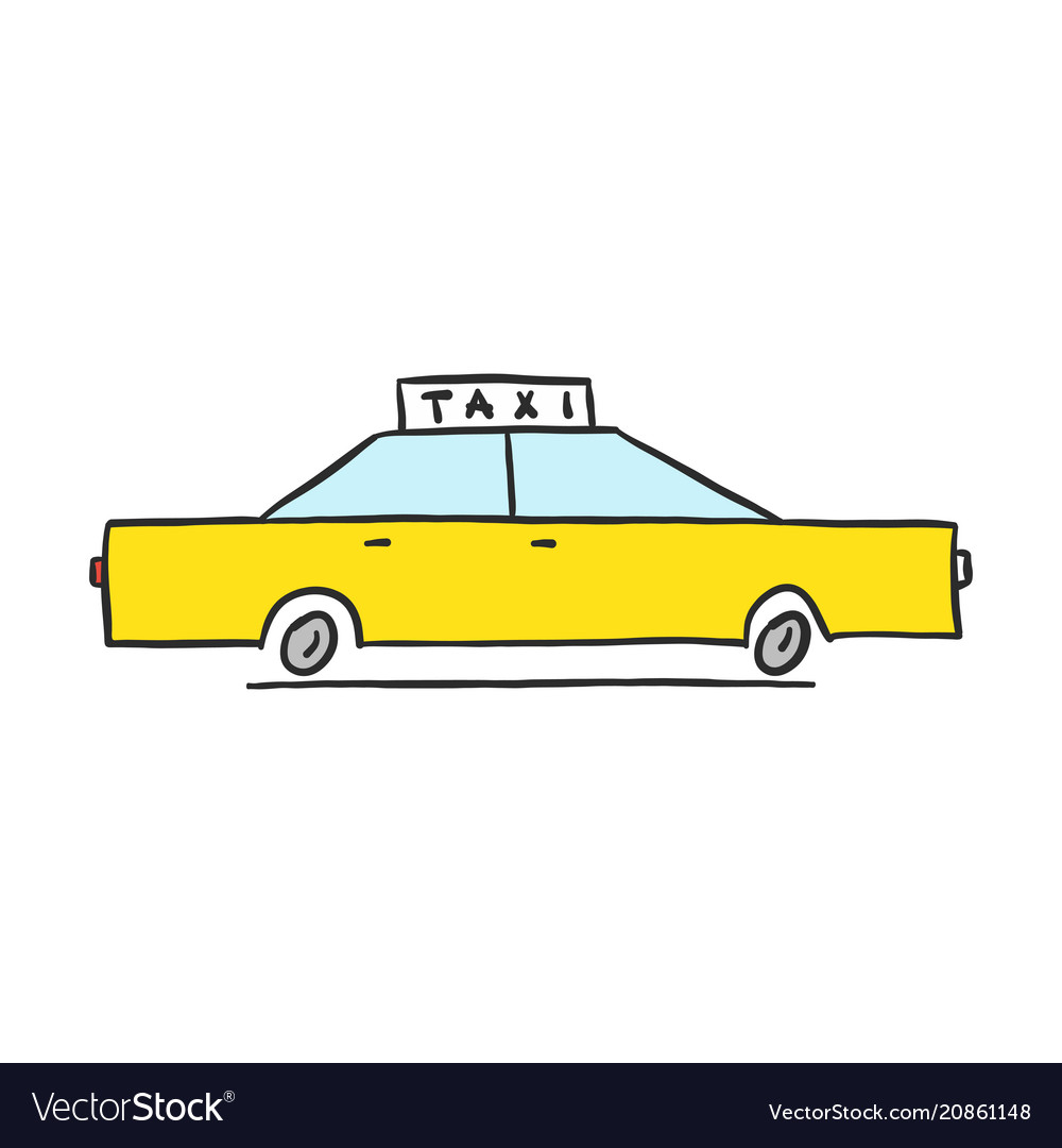 Hand drawn yellow taxi icon