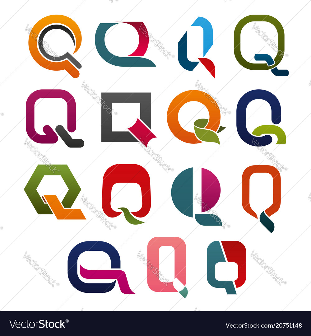 Letter q icon for business identity alphabet font