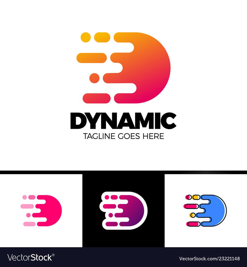 Motion speed line letter d logo design template