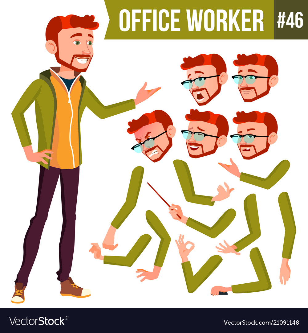 Office worker red head face emotions